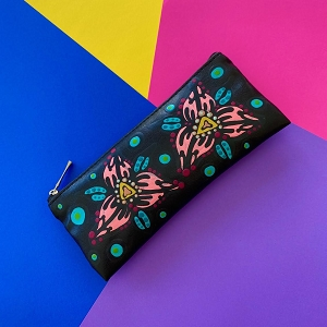 Zipper Glasses Case (Original) Hand Painted Flowers