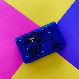 Business Card Case Navy Blue (Hand Painted Flower + Paris Eiffel Tower)