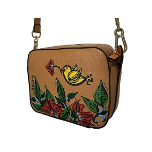 Crossbody Bag Hand Painted Bird & Flowers on Neiman Marcus Brand