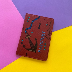 Passport Cover (Red Anchor Original) Hand Painted