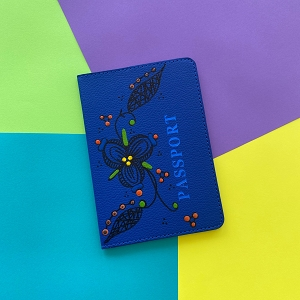 Passport Cover (Navy Blue Flower Original) Hand Painted