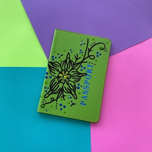 Passport Cover (Green Flower Original) Hand Painted