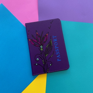 Passport Cover (Purple Flower Original) Hand Painted