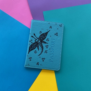 Passport Cover (Light Blue Dragonfly Original) Hand Painted