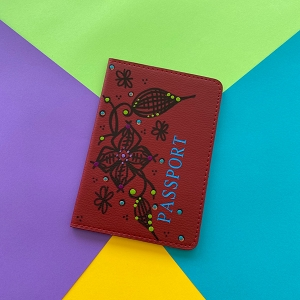 Passport Cover (Red Flower Original) Hand Painted