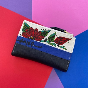 Wallet Hand Painted Flowers on Beautiful Double Zipper Organizer
