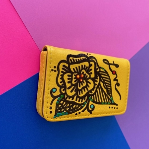 Business Card Case Yellow (Hand Painted Flower)